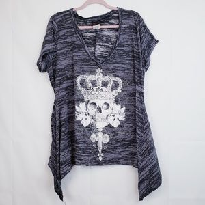 Torrid Women's burnout blouse Tunic plus 3X skull